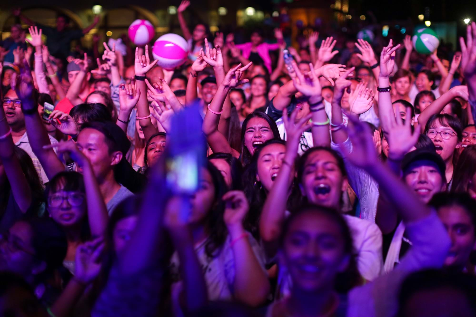 Crowd cheering during an event at Irvine Spectrum Center